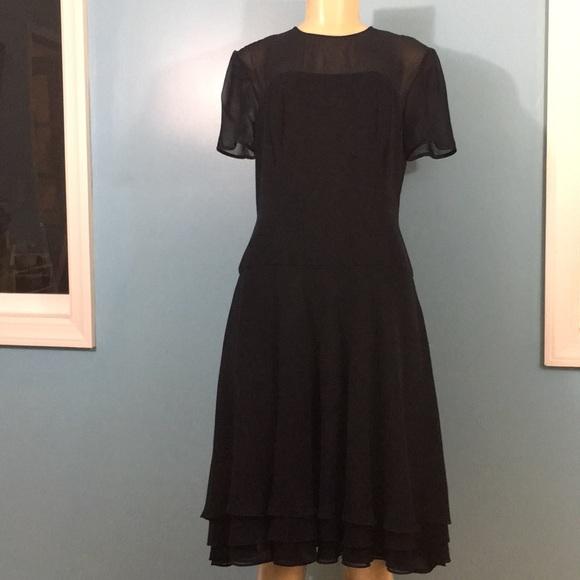 Melinda Eng Dresses & Skirts - Melinda Eng Sheer Neck Formal Silk Dress